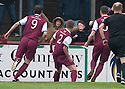 Arbroath's Michael Travis (2) celebrates after he scores their goal.