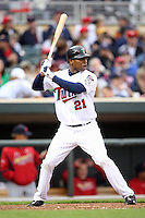 April 2, 2010: Delmon Young of the Minnesota Twins in the first professional baseball game played at the Twins new home, Target Field. Photo by: Chris Proctor/Four Seam Images