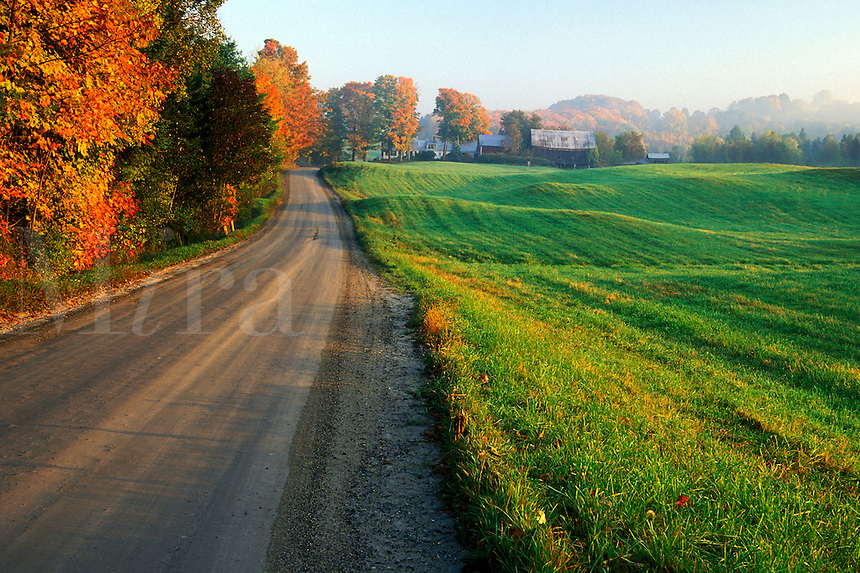 Sunrise over gravel road and rolling grass hills, Lyndon, Caledonia County, V