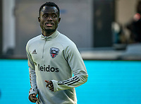 WASHINGTON, DC - MARCH 07: Mohammed Abu #26 of DC United warms up during a game between Inter Miami CF and D.C. United at Audi Field on March 07, 2020 in Washington, DC.