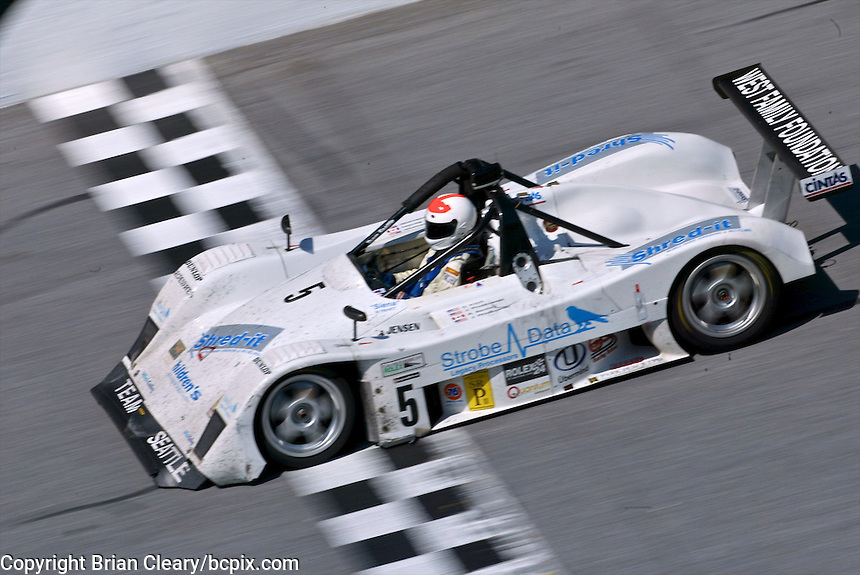 The #5 Nissan Lola of Justin Pruskowski, Ross Bentley,  Joe Pruskowski, and Don Kitch races to a seventh place finish at the Rolex 24 at Daytona, Daytona INternational Speedway, Daytona Beach, FL, February 2, 2003.  (Photo by Brian Cleary/www.bcpix.com)