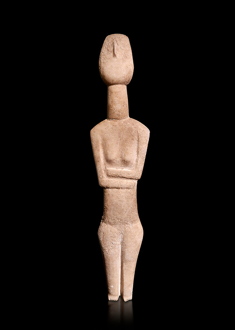 Cycladic Canonical type, Spedos variety female figurine statuette. Early Cycladic Period II from Syros phase , (2800-2300 BC). Attributed to the 'Copenhagen Master' Museum of Cycladic Art Athens,   Against black<br /> <br /> The short legs have no knees and end in rudimentary feet. The legs probably broke at the knees and an artists remodelled  the truncated legs with toes. It is a rare example of remodelling in Cycladic art