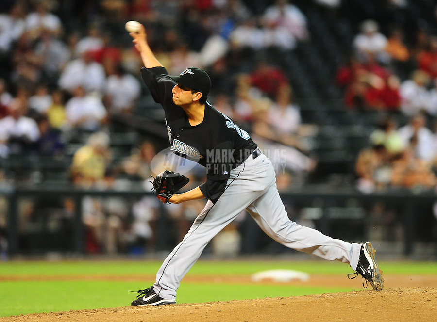 Jul. 11, 2010; Phoenix, AZ, USA; Florida Marlins pitcher Alex Sanabia against the Arizona Diamondbacks at Chase Field. Mandatory Credit: Mark J. Rebilas-