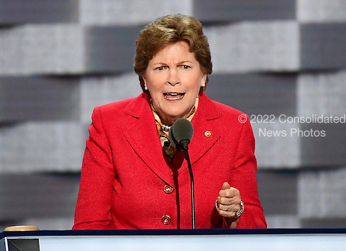 United States Senator Jeanne Shaheen (Democrat of New Hampshire) makes remarks at the 2016 Democratic National Convention at the Wells Fargo Center in Philadelphia, Pennsylvania on Monday, July 25, 2016.<br /> Credit: Ron Sachs / CNP<br /> (RESTRICTION: NO New York or New Jersey Newspapers or newspapers within a 75 mile radius of New York City)