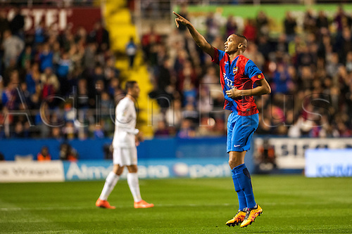 02.03.2016. Valencia, Spain. La Liga football. Levante versus Real Madrid.   Deyverson Brum Silva Acosta celebrates his goal for Levante