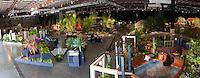 Wide view of gardens exhibit floor at San Francisco Flower & Garden Show 2014