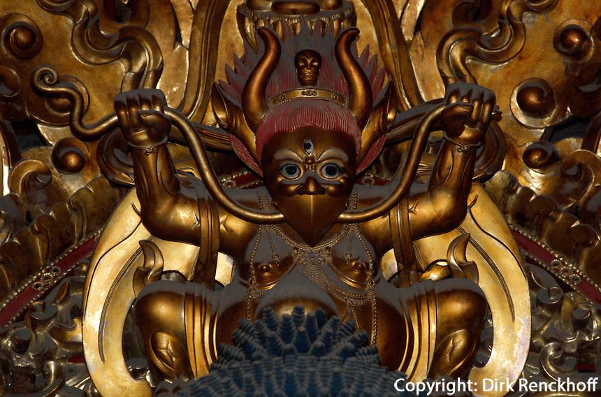 Pule Si (Tempel), Figur in Seitenhalle,  Chengde, China, Unesco-Weltkulturerbe