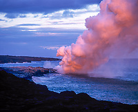 Volcanic Gas Steam Plume at Sunset, Volcanoes National Park, Big Island, Hawaii, USA.