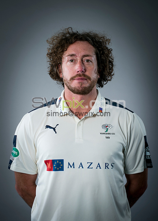 Picture By Allan McKenzie/SWpix.com - 15/04/16 - Cricket - Yorkshire CCC Media Day - Yorkshire County Cricket Club - Headingley, Leeds, England - Ryan Sidebottom.