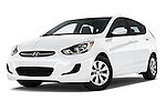 Stock pictures of low aggressive front three quarter view of 2016 Hyundai Accent SE 6-Speed Automatic 5 Door Hatchback Low Aggressive