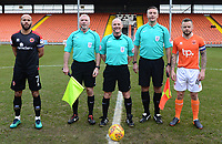 Referee Scott Duncan and his assistants line up with Blackpool's Jay Spearing and Walsall's Adam Chambers prior to the match<br /> <br /> Photographer Richard Martin-Roberts/CameraSport<br /> <br /> The EFL Sky Bet League One - Blackpool v Walsall - Saturday 10th February 2018 - Bloomfield Road - Blackpool<br /> <br /> World Copyright &not;&copy; 2018 CameraSport. All rights reserved. 43 Linden Ave. Countesthorpe. Leicester. England. LE8 5PG - Tel: +44 (0) 116 277 4147 - admin@camerasport.com - www.camerasport.com