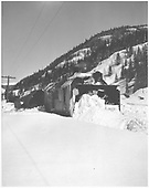 Small avalanche north of Rico has knocked over RGS rotary #2's tender.<br /> RGS  Rico, CO  ? 1928