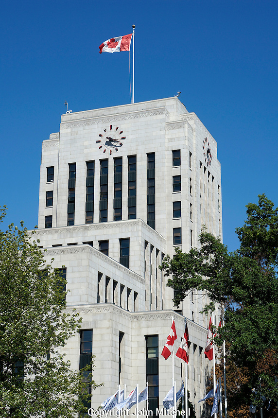 The Art Deco style Vancouver City Hall built in 1936, Vancouver, BC, Canada