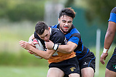 Bobby Shelford -Lowry gets tackled by Ikinofo Lanardo. Counties Manukau Premier Counties Power Club Rugby Round 2, Game of the Week, between Te Kauwhata and Onewhero, played at Te Kauwhata on Saturday March 17th 2018. <br /> Photo by Richard Spranger.<br /> <br /> Onewhero won the game 43 - 10 after leading 21 - 10 at halftime.<br /> Te Kauwhata EnviroWaste  10 - Lani Latu try,  Caleb Brown 1 conversion, Caleb Brown 1 penalty.<br /> Onewhero 43 - Jackson Orr 2, Ilaisa Koaneti 2, Vaughan Holdt, Zac Wootten, Rhain Strang tries, Vaughan Holdt 4 conversions.