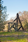Historic concrete and wooden headframe of the Bunker Hill mine, Amador County, Calif.