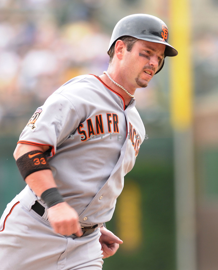 AARON ROWAND, of the San Francisco Giants , in action during the Giants  game against the Chicago CUbs  on July 12, 2008 in Chicago . The Cubs won  game 8-7.