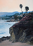 "A view of Pacific Ocean surf at scenic Laguna Beach in beautiful southern California Orange County. Oil on canvas, 27"" x 20""."