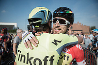 stage winner Peter Sagan (SVK/Tinkoff) is congratulated by teammate Matteo Tosatto (ITA/Tinkoff) after finishing<br /> <br /> 12th Eneco Tour 2016 (UCI World Tour)<br /> stage 3: Blankenberge-Ardooie (182km)
