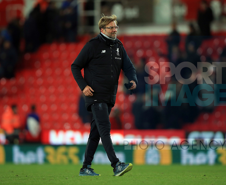 Jurgen Klopp manager of Liverpool during the premier league match at the bet365 Stadium, Stoke on Trent. Picture date 29th November 2017. Picture credit should read: Clint Hughes/Sportimage