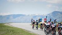 yellow jersey group setting a fast pace towards Alpe d'Huez<br /> <br /> stage 7: Aoste &gt; Alpe d'Huez (168km)<br /> 69th Crit&eacute;rium du Dauphin&eacute; 2017