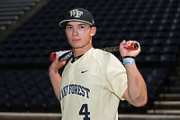 Wake Forest Demon Deacons center fielder Stuart Fairchild (4) poses for a photo following the game against the Pittsburgh Panthers at David F. Couch Ballpark on May 20, 2017 in Winston-Salem, North Carolina. The Demon Deacons defeated the Panthers 14-4.  (Brian Westerholt/Four Seam Images)