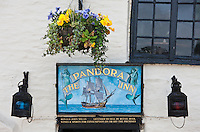 The Pandora Inn, popular as a tourist destination, Cornwall, England, UK
