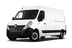 Stock pictures of low aggressive front three quarter view of a 2019 Renault Master L3h2 4 Door Cargo Van