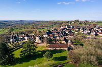 France, Correze, Saint Robert, labelled Les Plus Beaux Villages de France (The Most Beautiful Villages of France), // France, Corrèze (19), Saint-Robert, labellisé Les Plus Beaux Villages de France, vue générale du village (vue aérienne)
