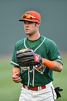 Right fielder Aaron Knapp (7) of the Greensboro Grasshoppers warms up before a game against the Greenville Drive on Tuesday, April 25, 2017, at Fluor Field at the West End in Greenville, South Carolina. Greenville won, 5-1. (Tom Priddy/Four Seam Images)