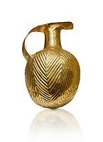 Bronze Age Hattian gold flask from a possible Bronze Age Royal grave (2500 BC to 2250 BC) - Alacahoyuk - Museum of Anatolian Civilisations, Ankara, Turkey. Against a white background