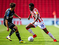 27th June 2020; Bet365 Stadium, Stoke, Staffordshire, England; English Championship Football, Stoke City versus Middlesbrough; Bruno Martins Indi of Stoke City cuts inside under pressure along the wing