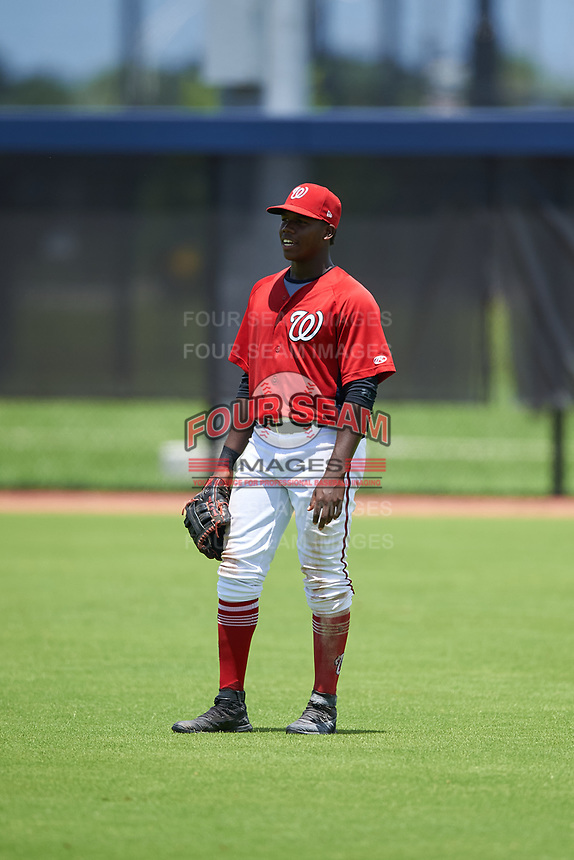 GCL Nationals outfielder Jeremy De La Rosa (22) during a Gulf Coast League game against the GCL Astros on August 9, 2019 at FITTEAM Ballpark of the Palm Beaches training complex in Palm Beach, Florida.  GCL Nationals defeated the GCL Astros 8-2.  (Mike Janes/Four Seam Images)