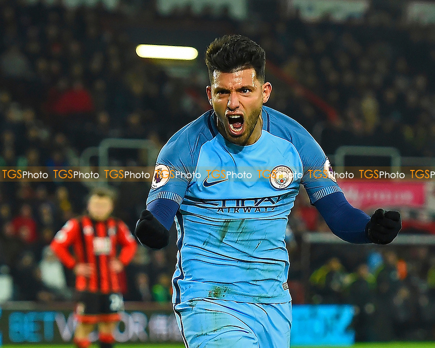 Sergio Aguero of Manchester City scores the second goal and celebrates during AFC Bournemouth vs Manchester City, Premier League Football at the Vitality Stadium on 13th February 2017