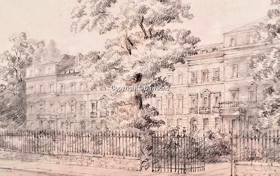 BNPS.co.uk (01202 558833)<br /> Pic: Dawsons/BNPS<br /> <br /> Details...<br /> <br /> A charming sketch which has been attributed the great English landscape painter John Constable has been discovered during a house clearance.<br /> <br /> The 9ins by 5.5ins artwork, titled 'A London Terrace of Trees and Figures, shows a large Georgian townhouse surrounded with tall oak trees.<br /> <br /> It was found in a cardboard file tucked away in the corner of a pensioner's bedroom in a property in Holland Park, central London.<br /> <br /> The sketch was bequeathed to her by her late next door neighbour who she had known since World War Two, becoming close friends over the decades that followed.<br /> <br /> It is now being sold with Dawsons Auctioneers, of Maidenhead, Berks, who expect it to fetch £6,000.