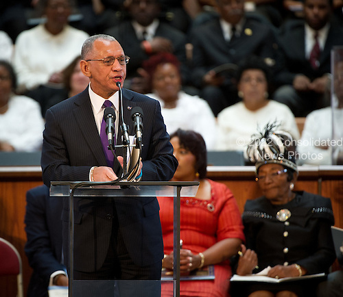 National Aeronautics and Space Administration (NASA) Administrator Charles Bolden speaks and delivers greetings from President Obama at the 44th annual Martin Luther King, Jr. Commemorative Service on Monday, January 16, 2012 at Ebenezer Baptist Church in Atlanta. .Mandatory Credit: Bill Ingalls / NASA via CNP