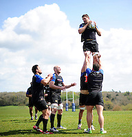 Charlie Ewels of Bath Rugby wins the ball at a lineout. Bath Rugby training session on May 3, 2016 at Farleigh House in Bath, England. Photo by: Patrick Khachfe / Onside Images