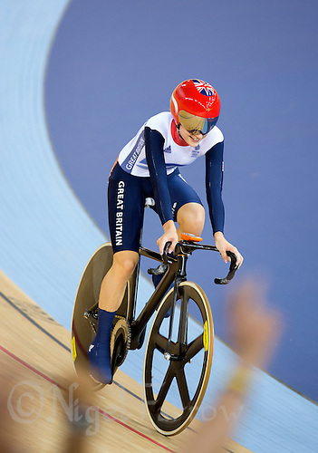 06 AUG 2012 - LONDON, GBR - Laura Trott (GBR) of Great Britain celebrates winning the Women's Omnium Elimination Race at the London 2012 Olympic Games track cycling at the Olympic Park Velodrome in Stratford, London, Great Britain .(PHOTO (C) 2012 NIGEL FARROW)