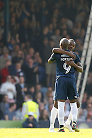 GOAL - Theo Robinson is congratulated by Marc Antoine-Fortune of Southend United for his goal during the Sky Bet League 1 match between Southend United and MK Dons at Roots Hall, Southend, England on 21 April 2018. Photo by Carlton Myrie.