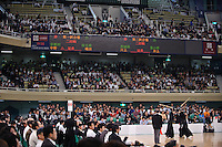 Audience at the 59th All Kendo Championship,  Budokan, Tokyo, Japan, November 3, 2011. Contestants from all over Japan compete doing the day-long event. Kendo is a popular martial art based on traditional Japanese swordsmanship.