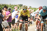 Race leader Yellow Jersey Greg Van Avermaet (BEL) BMC Racing Team in action on the cobbles during Stage 9 of the 2018 Tour de France running 156.5km from Arras Citadelle to Roubaix, France. 15th July 2018. <br /> Picture: ASO/Pauline Ballet | Cyclefile<br /> All photos usage must carry mandatory copyright credit (&copy; Cyclefile | ASO/Pauline Ballet)