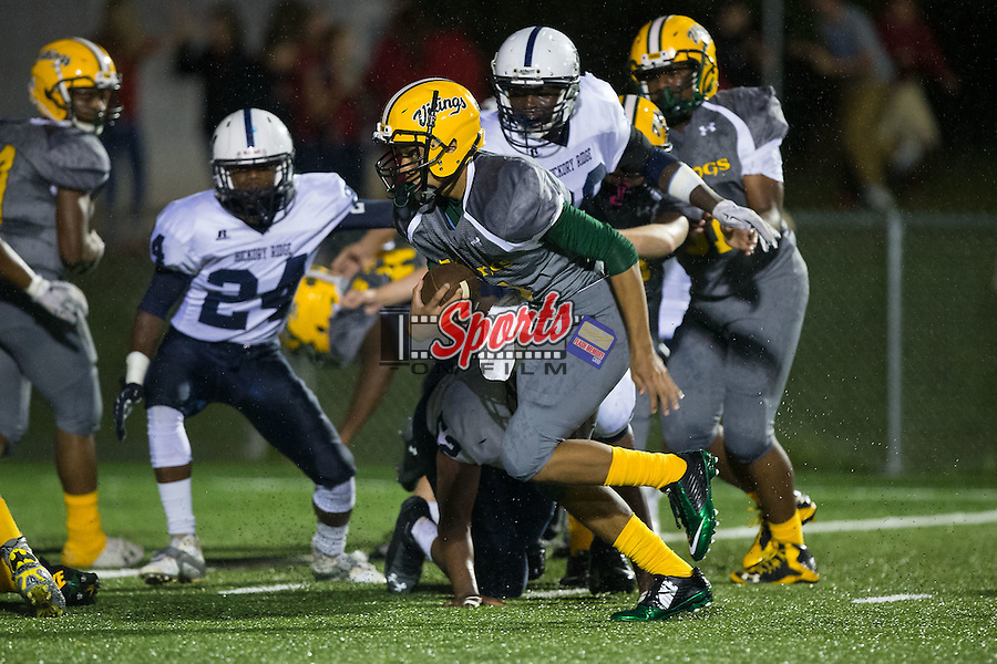Tyler English (7) of the Central Cabarrus Vikings runs with the football during first half action against the Hickory Ridge Ragin' Bulls at Central Cabarrus High School on September 25, 2015 in Concord, North Carolina.  The Ragin' Bulls defeated the Vikings 41-12.  (Brian Westerholt/Sports On Film)