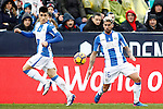 CD Leganes' Unai Bustinza (l) and Samuel Garcia during La Liga match. February 12,2017. (ALTERPHOTOS/Acero)