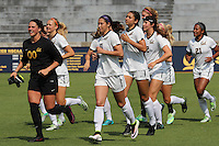 BERKELEY, CA - August 19, 2016:  Cal Bears Women's Soccer team vs. the Cal Poly Mustangs at Goldman Field.  Final score, Cal Bears 1, Cal Poly 0