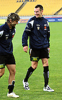 Michael Ferrante and Shane Smeltz leave the pitch after the win during the A-League match between Wellington Phoenix and Newcastle Jets at Westpac Stadium, Wellington, New Zealand on Sunday, 4 January 2009. Photo: Dave Lintott / lintottphoto.co.nz