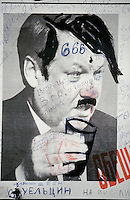 Moscow, Russia, 03/10/1993..An anti-Yeltsin poster on the Russian Parliament wall. When President Boris Yeltsin dissolved the opposition-dominated Russian Parliament,  deputies and supporters, led by Vice President Alexander Rutskoi, barricaded themselves inside the White House. After a 10 day stand-off the situation exploded into violence between pro and anti Yeltsin forces.