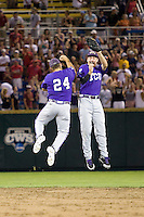 TCU wins 2859.jpg against Florida State at the College World Series on June 23rd, 2010 at Rosenblatt Stadium in Omaha, Nebraska.  (Photo by Andrew Woolley / Four Seam Images)