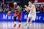 Real Madrid's Jaycee Carroll and FC Barcelona Lassa's Tyrese Rice during Liga Endesa match between Real Madrid and FC Barcelona Lassa at Wizink Center in Madrid, Spain. March 12, 2017. (ALTERPHOTOS/BorjaB.Hojas)