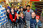 Caitriona Kennedy and Anthony Dawson, first in the queue at Garveys SuperValu, Tralee to purchase Tralee Warrior basketball game tickets, pictured on Wednesday last with Tralee Warriors Basketballer players Kendall Williams and Keith Jumper.