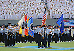 October 1, 2016 - Colorado Springs, Colorado, U.S. -  The Air Force Academy Honor Guard present the colors prior to the NCAA Football game between the Naval Academy Midshipmen and the Air Force Academy Falcons, Falcon Stadium, U.S. Air Force Academy, Colorado Springs, Colorado.  Air Force defeats Navy 28-14 to remain undefeated.