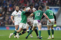 Maro Itoje of England takes on the Ireland defence. Natwest 6 Nations match between England and Ireland on March 17, 2018 at Twickenham Stadium in London, England. Photo by: Patrick Khachfe / Onside Images